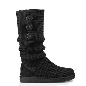 Classic UGG Cardy Boots-Knit w/Leather Heels